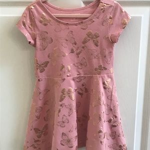 Pink Dress with Rose Gold Butterflies 3T